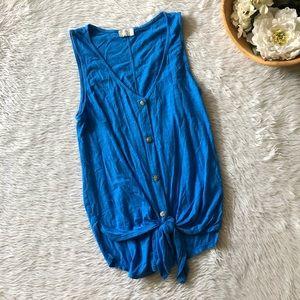 T.La Blue Front Tie Top